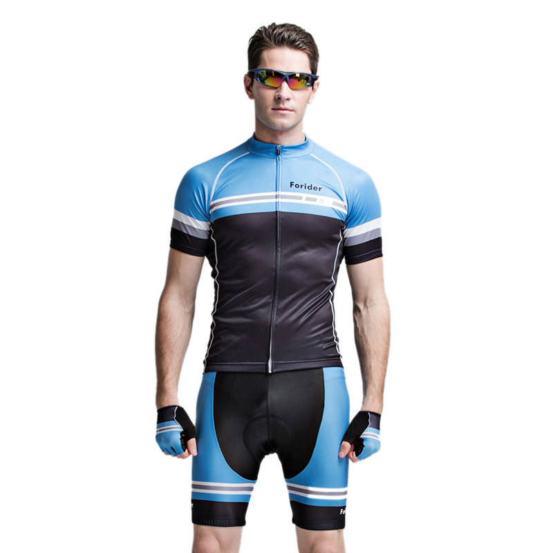 WOSAWE Short Sleeve Cycling Suit Sports Suit Sportswear With 4D Gel Pad Unisex Green - 2