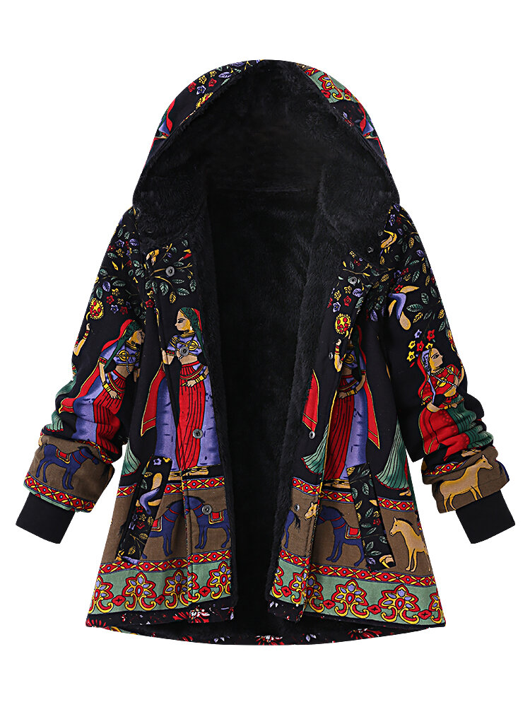Casual Women Printing Hooded Thick Black Coats