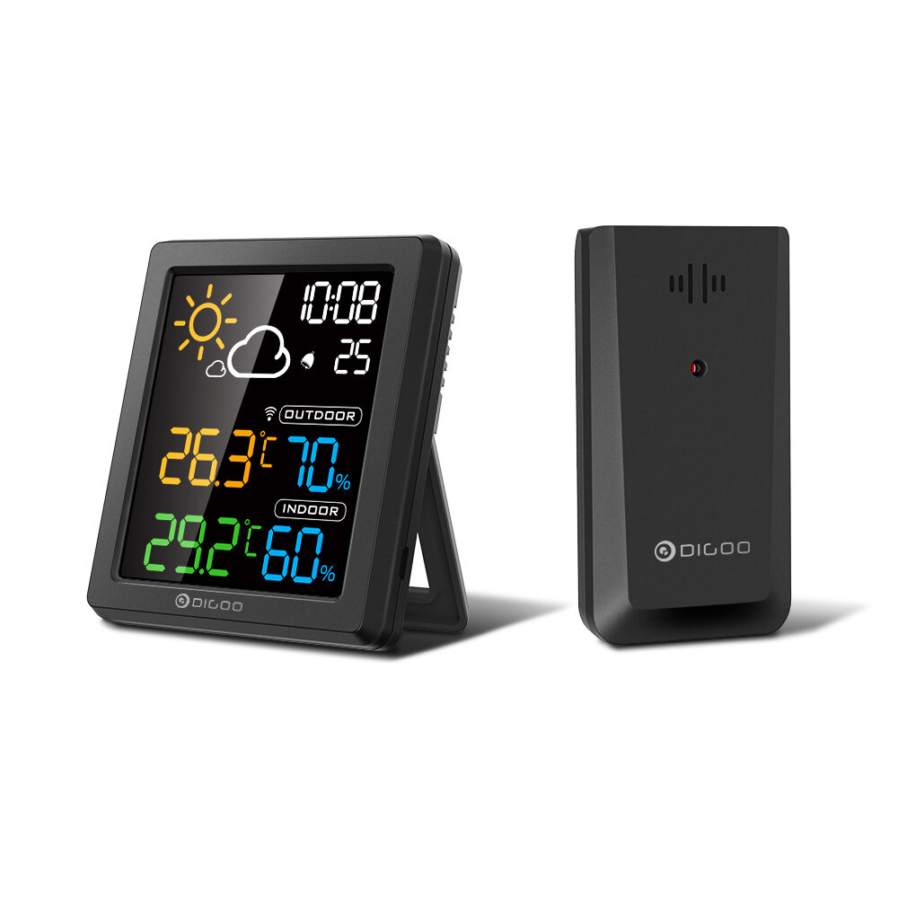 DIGOO DG-8647 Mini HD Color Screen LCD Weather Station Alarm Clock Smart Hygrometer Thermometer Snooze Dual Desktop Cloc