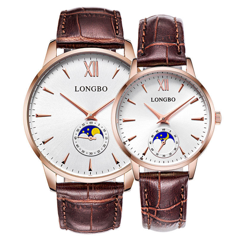 LONGBO 5008 The Sun The Moon The Stars Leather Band Waterproof Men Women Quartz Watch