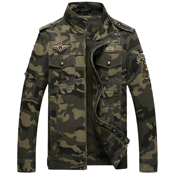 Mens Camo Printing Military Jacket Stand Collar Cotton Outdoor Epaulet Coat