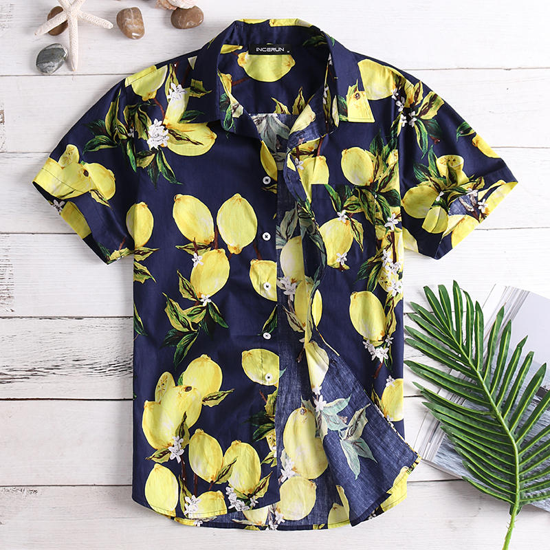 Mens Fruit Printing Summer Casual Vacation Fashion Shirts - 1