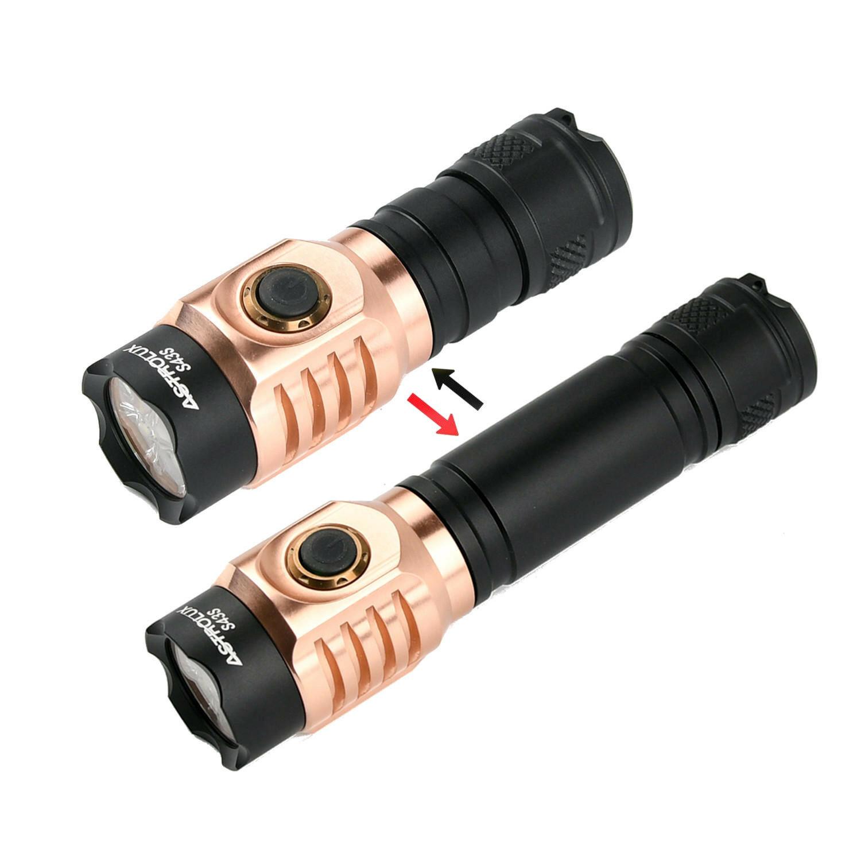 Astrolux® S43S Copper 4x LH351D/4x XPL-HI 3500lm New LED High CRI 95 Strong Light 18350 18650 EDC Flashlight - LH351D 5000K
