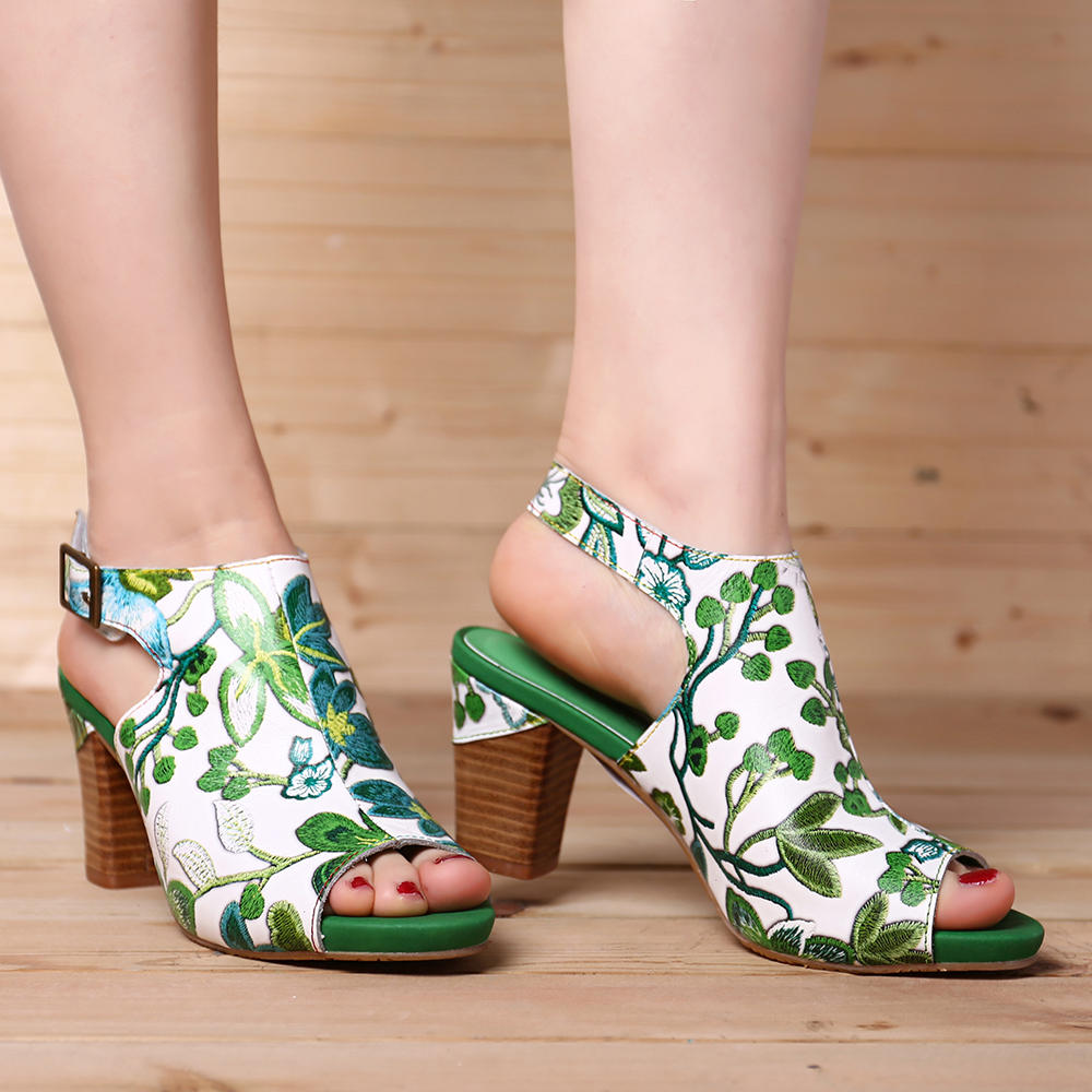 SOCOFY Handmade Flowers Hook Loop Leather Heeled Sandals - 8