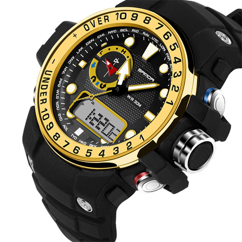 SANDA 399 reloj digital doble Pantalla calendario luminoso reloj Pantalla alarma Reloj reloj deportivo al aire libre