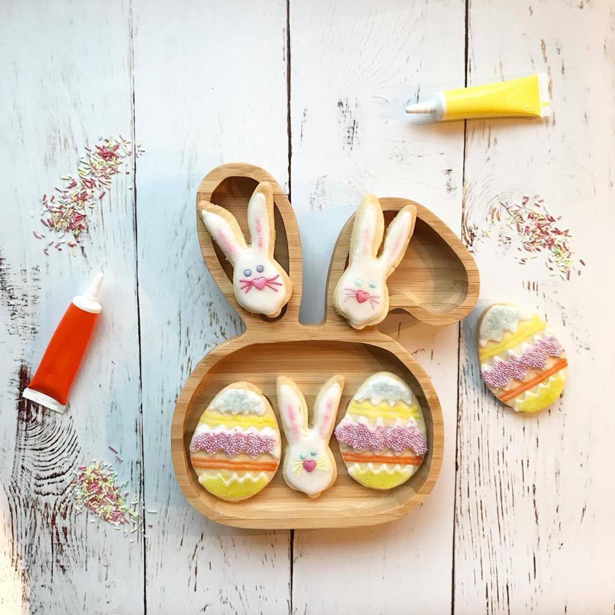 Assiette de succion pour bébé enfant en bas âge Mettez une assiette de nutrition Assiette en bambou naturel en forme de lapin pour enfants - 8