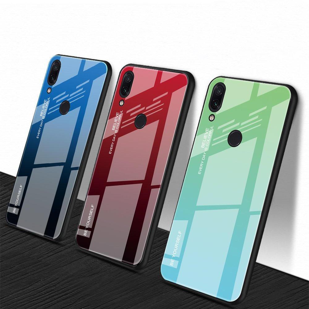 Bakeey ™ Degrade Renk Temperli Cam + Soft TPU Arka Kapak Koruyucu Kılıf Xiaomi Redmi Not 7 / Not 7