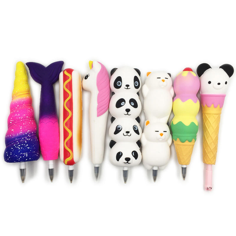 Squishy Pen Cap Ice Cream Cone Animal Slow Rising Jumbo With Pen Stress Relief Toys Student Office Gift