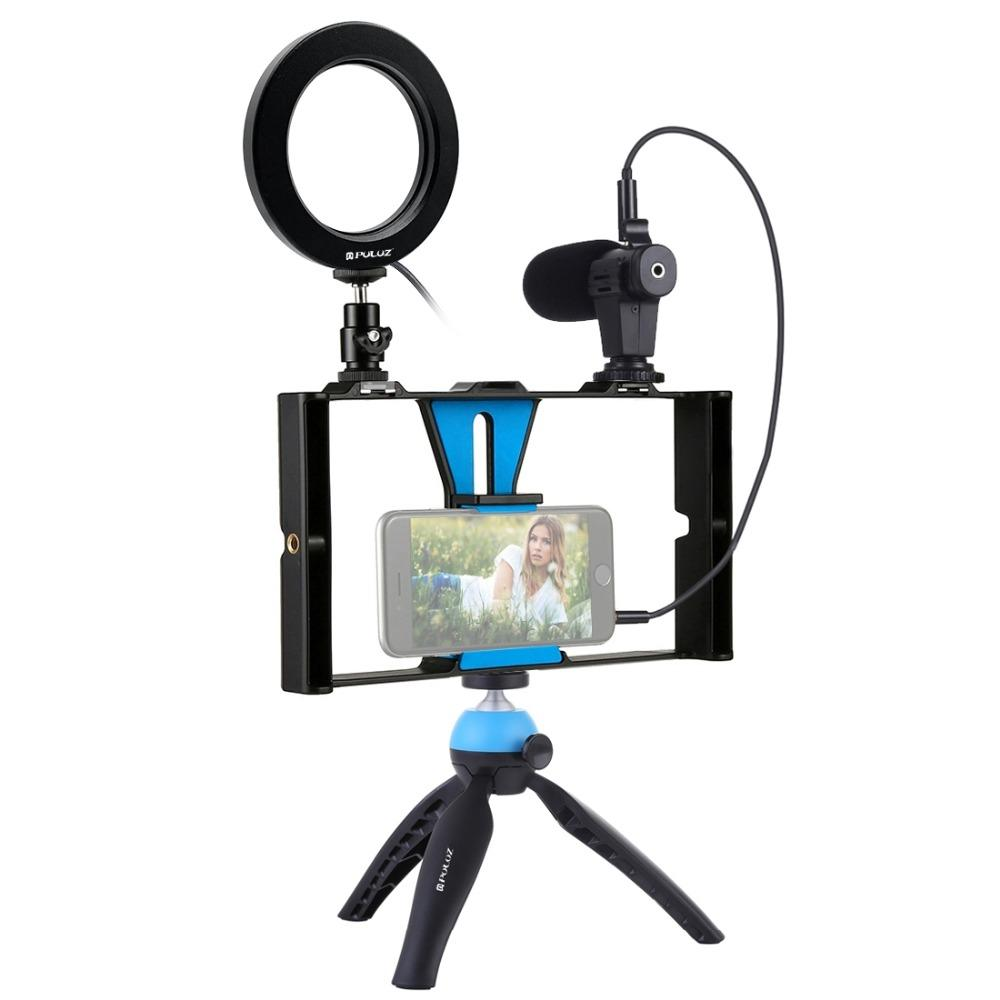 Puluz PKT3025 Rig Stabilizer Holder Vlog Video Ring Light Microphone for Smart Phone Photography - 2