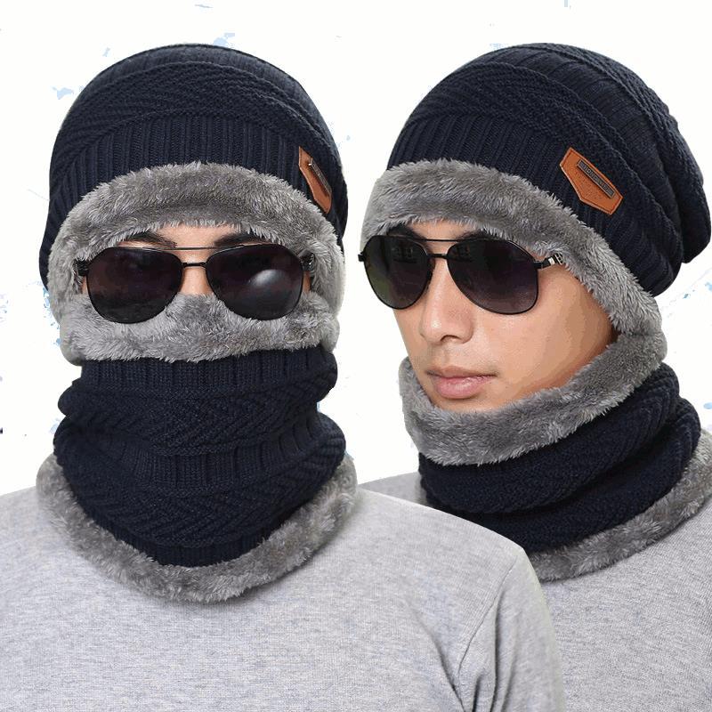 e217c5657 Knitted Hat Scarf Cap Neck Warmer Winter Hats For Men Women Skullies  Beanies Fleece