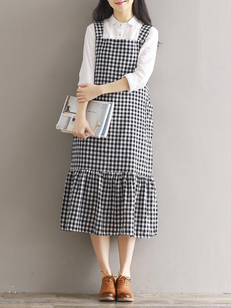 Plaid Strap backless Pocket Mid long Long Dresses For Women - 4