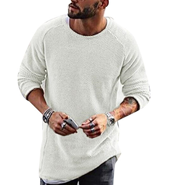 Fashion Men's Knitting Solid Color O Neck T shirt Long Sleeved Regular Fit Casual T shirts - 3
