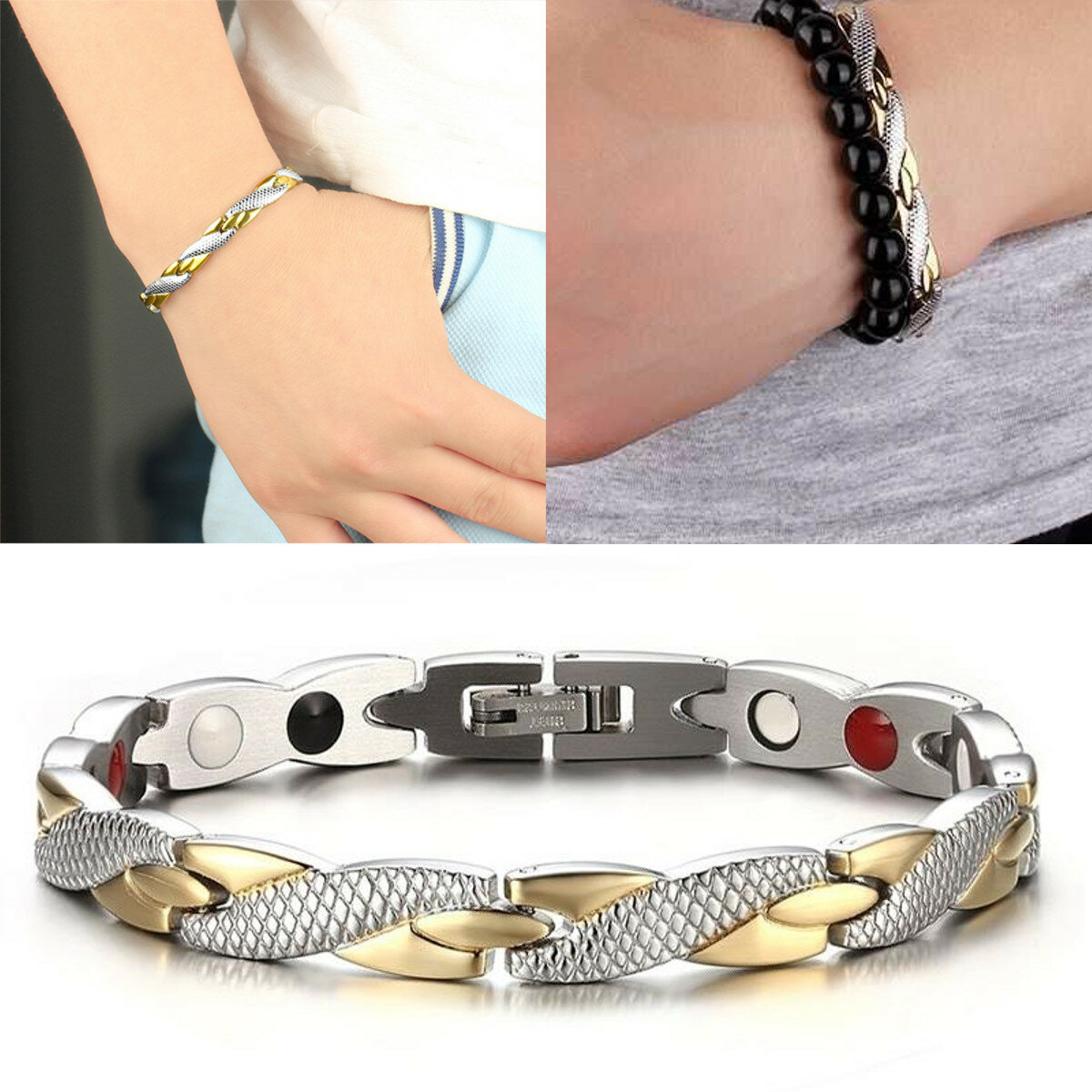 Fashion Magnetic Therapy Single Row Bracelet For Men Stainless Steel Silver Gold Chain Bracelet - 1