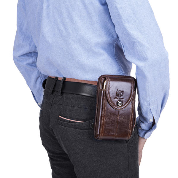 4.7 to 6 Inches Cell Phone Pouch Genuine Leather Waterproof Waist Pack For Men - 12