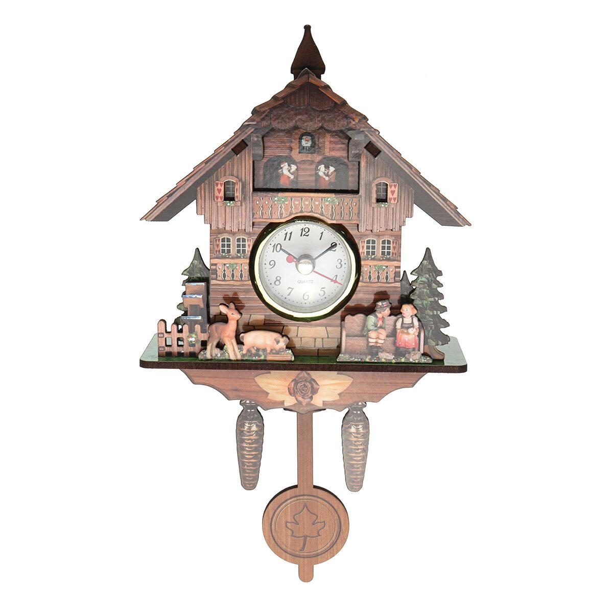 Cuckoo Clock Mount Wooden Wall Clock Analog Auto Swinging Pendulum Home  Decorations