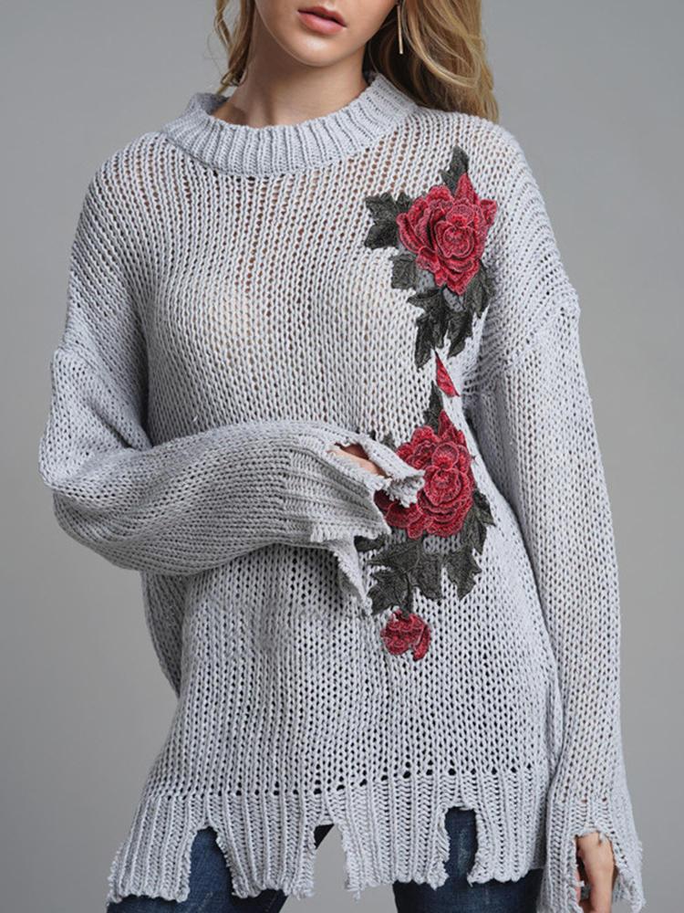Casual Women Print Crew Neck Long Sleeve Sweaters