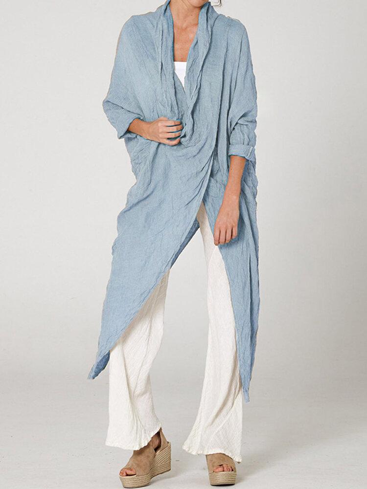 Women 3/4 Sleeve V Neck High Split Irregular Hem Casual Shirt Blouse