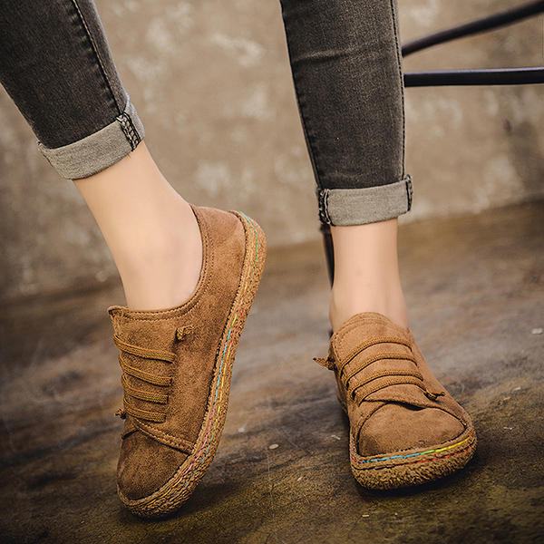 Women Casual Suede Stitching Slip On Flats - 3