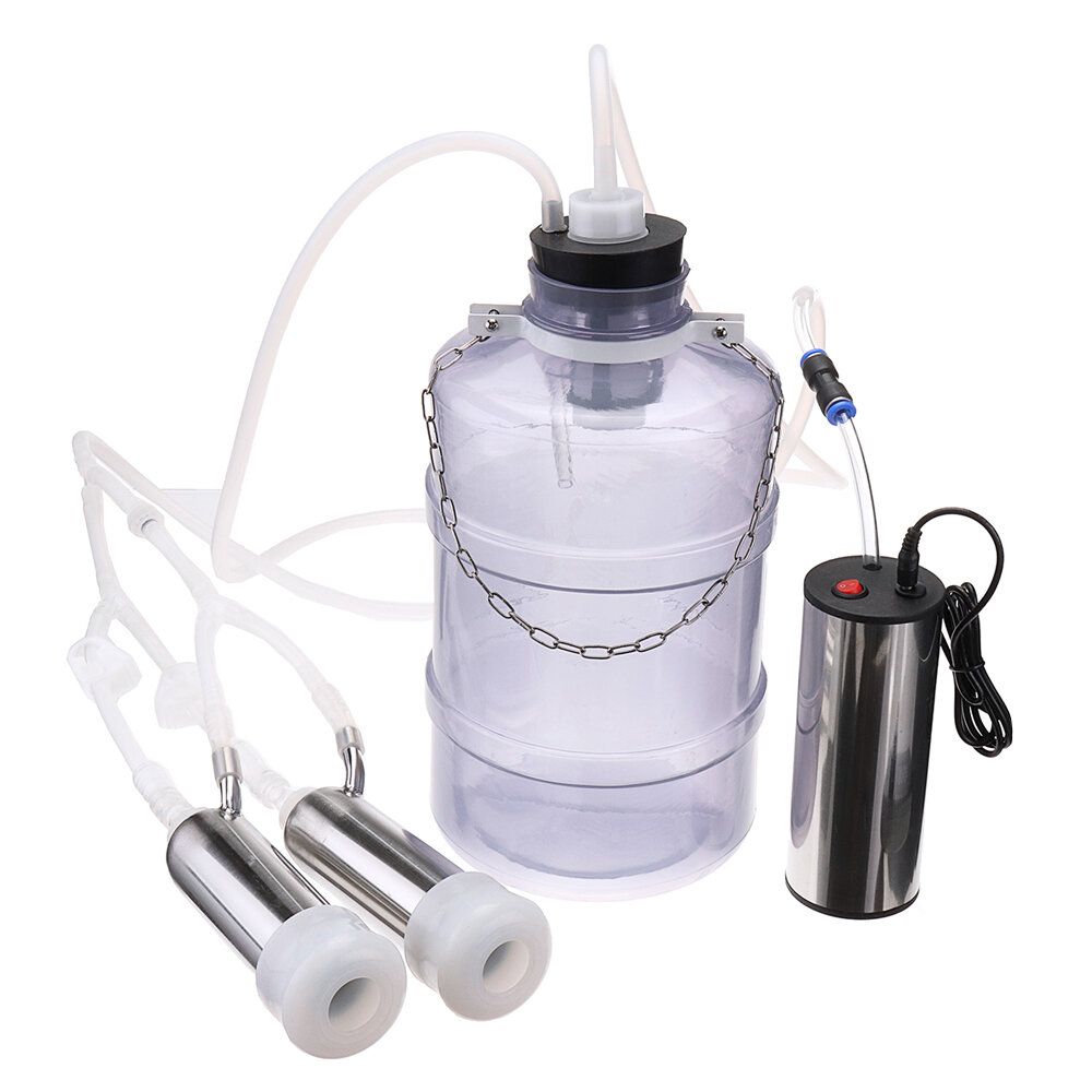 5L Electric Milking Machine Cow Goat Milker Stainless Steel Tank Double