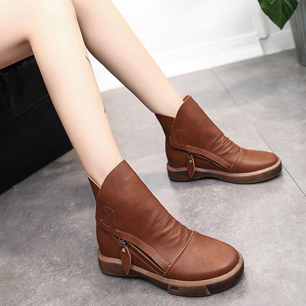Retro Spicing Casual Lace Up Slip Resistant Ankle Boots - 8