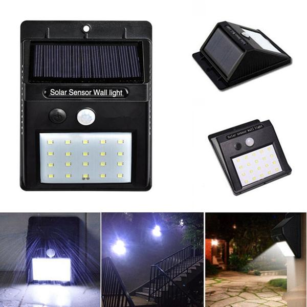 Solar 20 LED PIR Motion Wall Flood Light In//Outdoor Garden Spotlight 2 in 1 Lamp