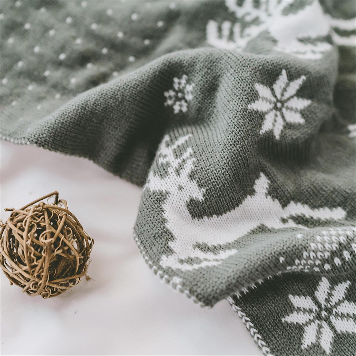 Christmas Elk Snowflake Knitted Blankets Throw Rug Sleeping Rug Bed Sofa Throws - 5