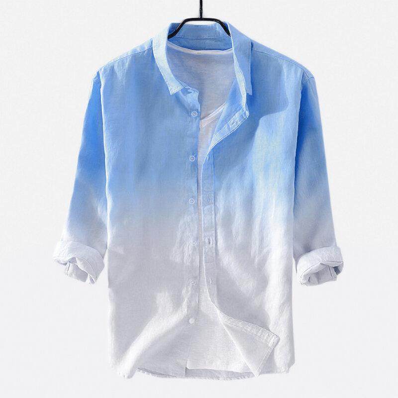 Mens Cotton Gradient Color Three Quarter Sleeve Casual Shirts