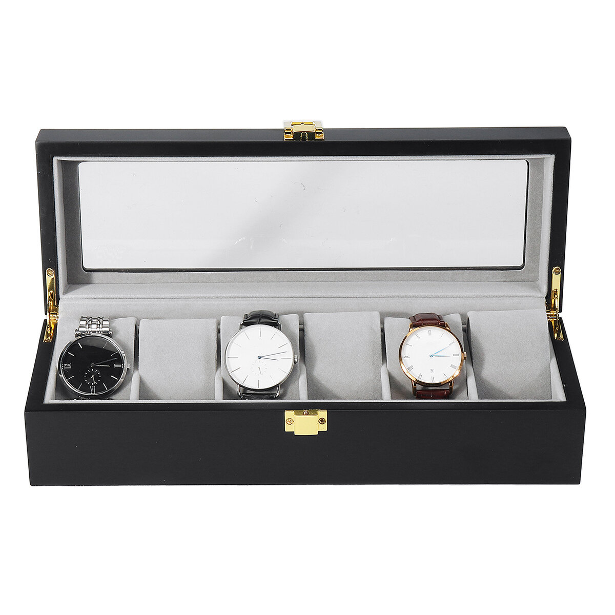 8 Slots PU Leather Lock Watch Storage Box with Mirror - 5