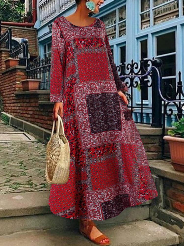 Kadın Bohemian Pamuklu Yan Cepler Uzun Kol Elbise