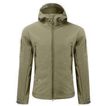 Men Camping imperméable à l'eau imperméable à l'eau Soft Shell Warm Coats Jacket - 1