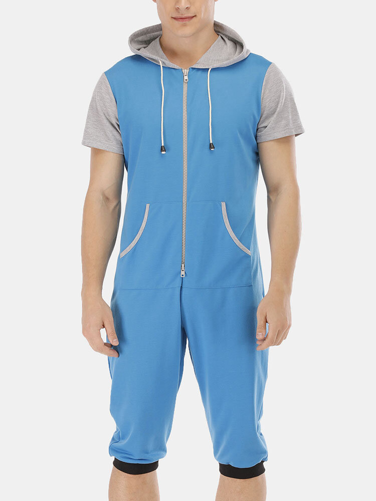Mens Casual Hooded Cotton Short Sleeve Loose Fit Home Jumpsuit