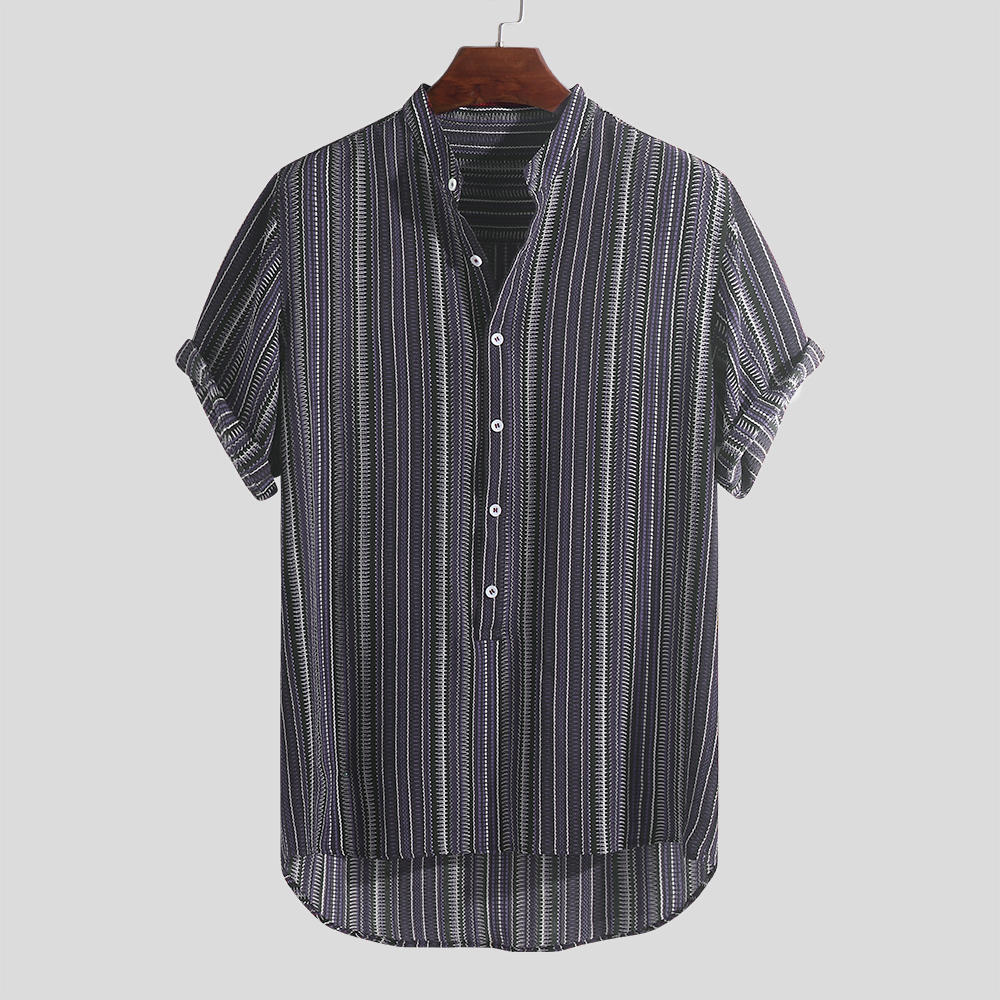 Mens Summer Striped Buttons Fly Breathable Short Sleeve Casual Henley Shirts - 2