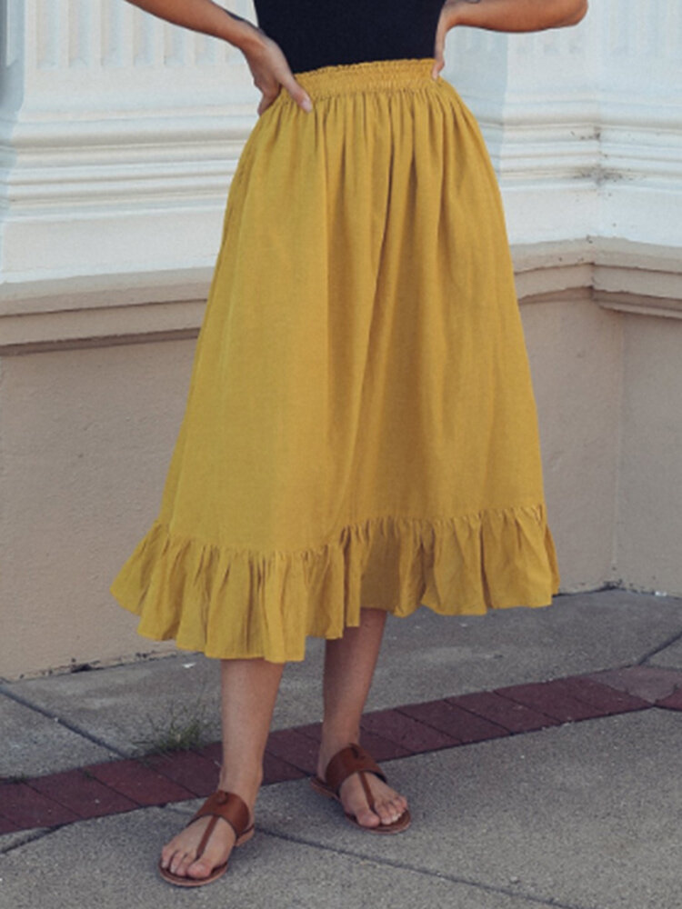 Solid Color A-Line Ruffle Hem Elastic Waist Pleated Casual Skirts For Women