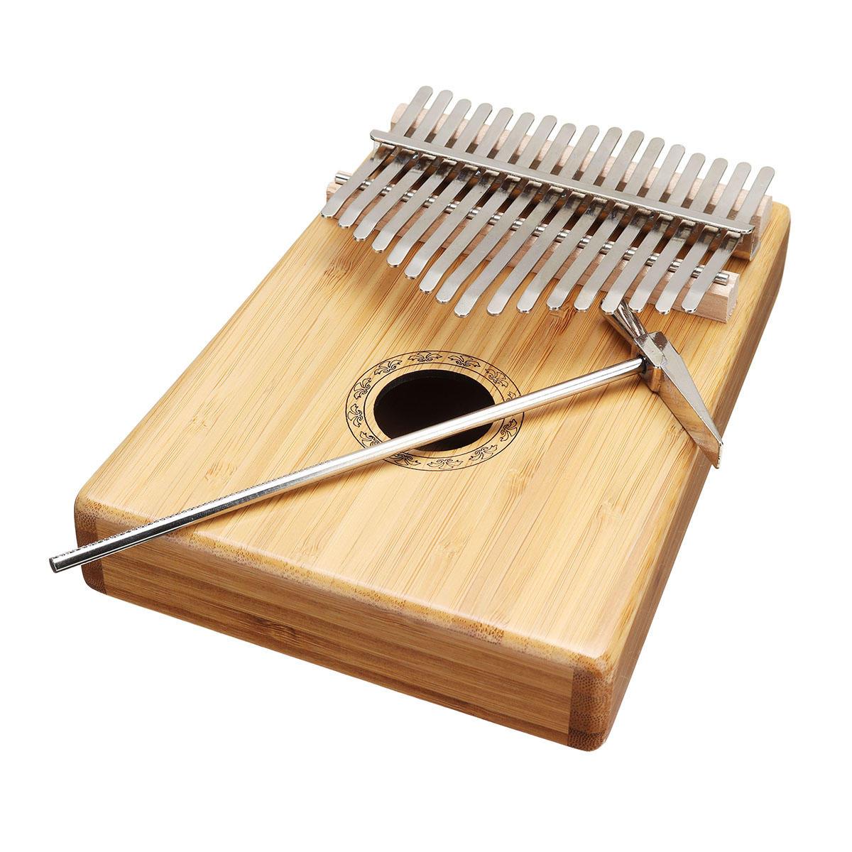 17 Keys Bamboo Thumb Piano Finger Percussion Kalimba With Tuning Hammer