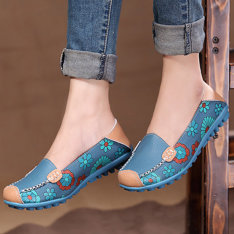 Big Size Women Flower Floral Leather Loafers Moccasins Flats Soft Ballet Shoes Round Toe Flats - 1