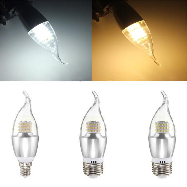 E14 e12 e27 7w 60 SMD 3014 LED blanco cálido bombilla de la lámpara de vela de cristal blanco no regulable CA 85-265V