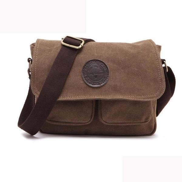 Men Retro Crossbody Bag Canvas Shoulder Bag Messenger