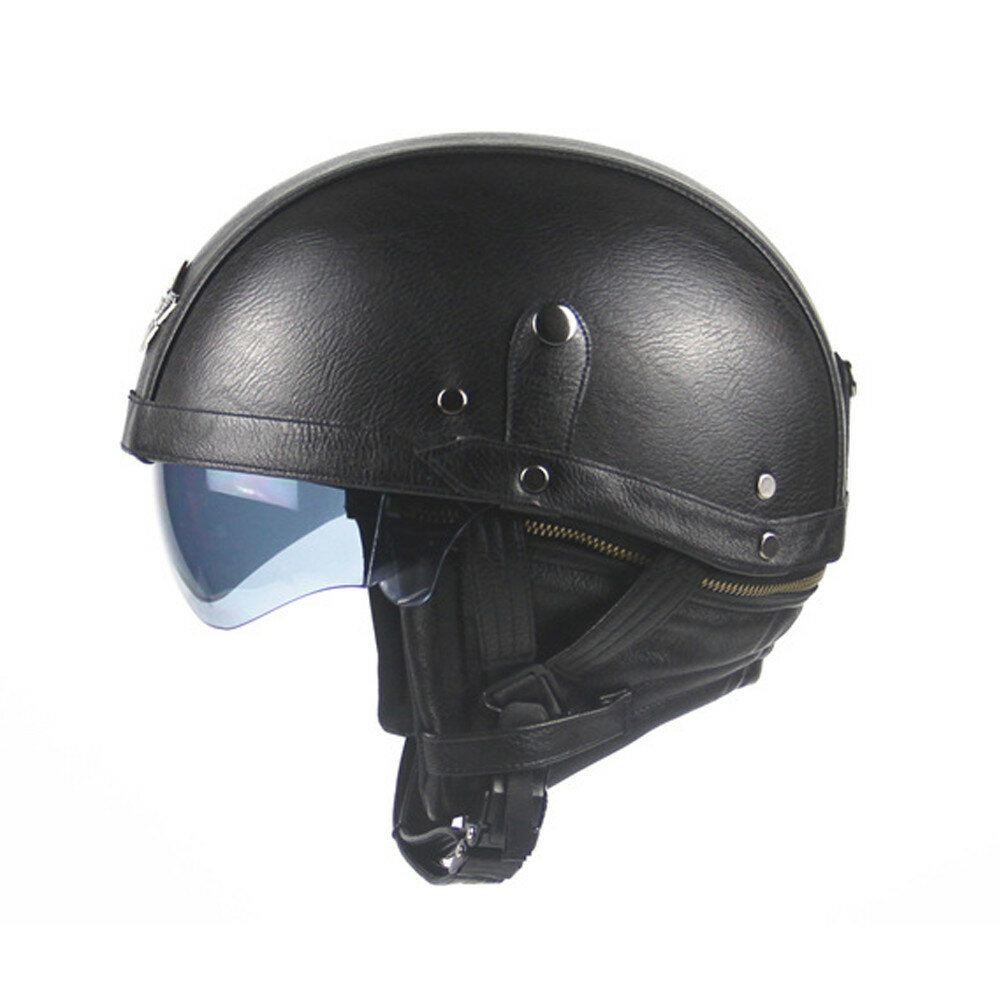 Vintage Motorcycle Helmet 3/4 with Visor Lens Half Face Scooter Safety - 6