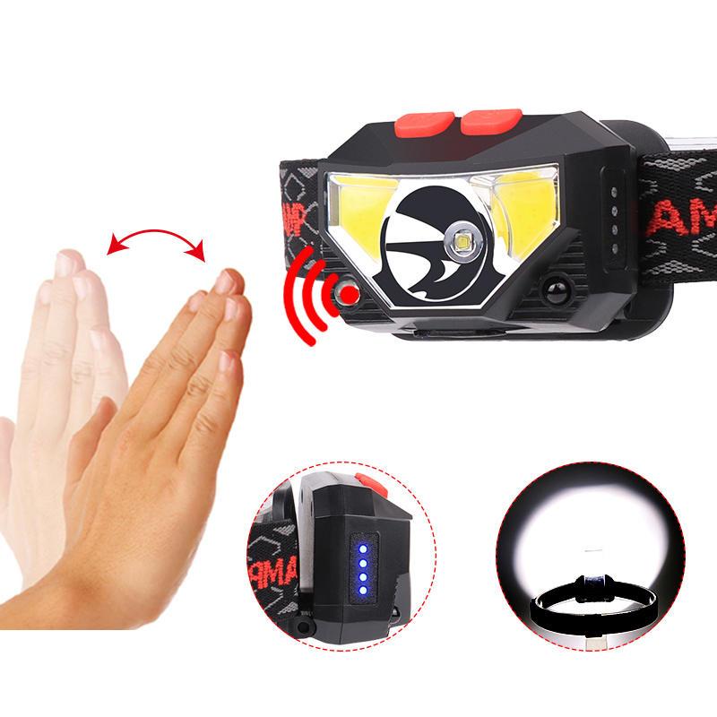 XANES® 826A 800LM Smart Sensor USB Headlamp 6 Modes Headlight Flashlight For Camping Hunting Cycling
