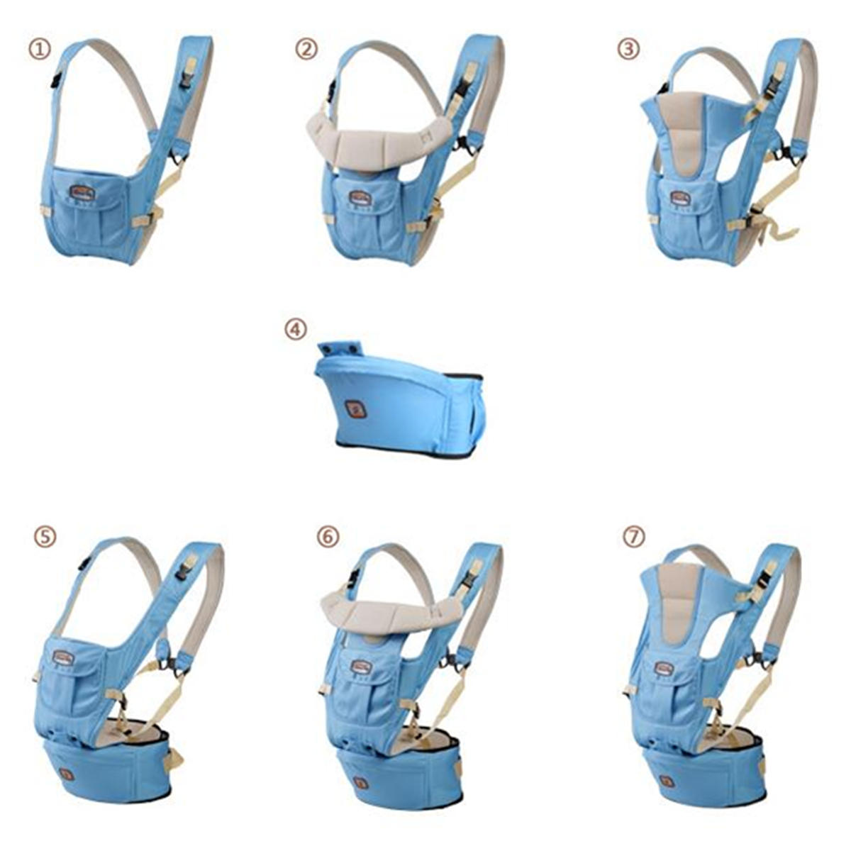 7 in 1 Adjustable Baby Infant Sling Carrier Breathable Ergonomic Wrap Backpack Baby Carriers - 5