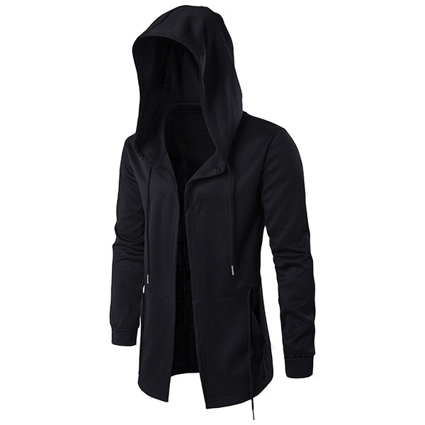 Mens Black Fashion Casual Mid Long Cape Cloak Hooded Jacket - 2