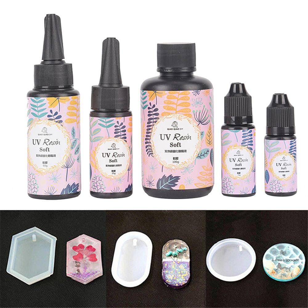 UV Resin Soft Ultraviolet Solar Sunlight Curing Cure Activated DIY Crystal Glue 25/60/100/200g