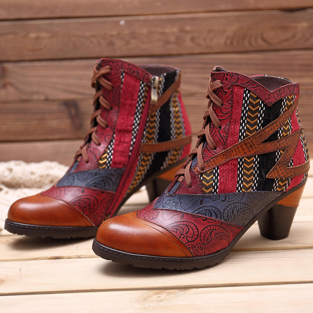 Women Genuine Leather Cuffed Thick Heel Lace-up Ankle Boots - 12