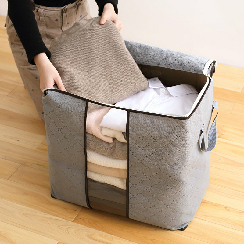 High Capacity Clothes Quilts Storage Bags Folding Organizer Bags Bamboo Portable Storage Container - 1