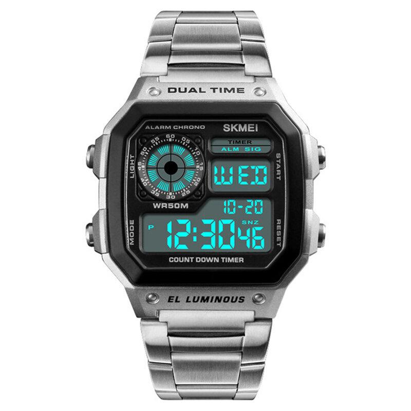 SKMEI 1335 Dijital İzle Erkekler Chronograph Alarm İzle Moda Stil Paslanmaz Çelik Spor İzle