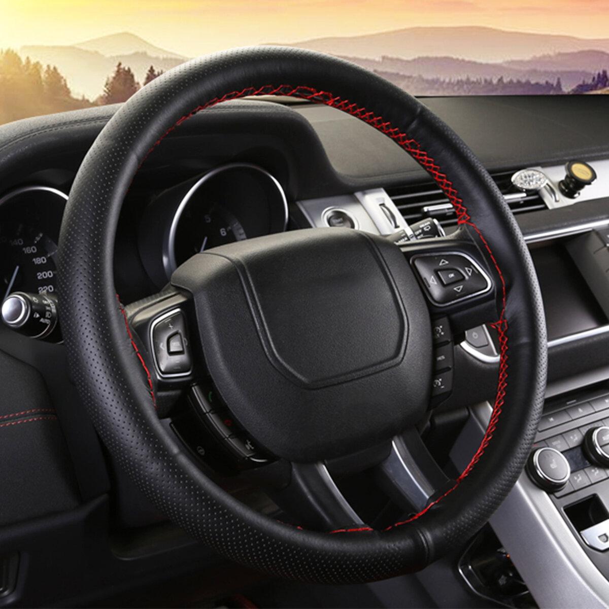 Black Red Line Car With Hand Sewing Steering Wheel Set Car Steering Wheel Covers