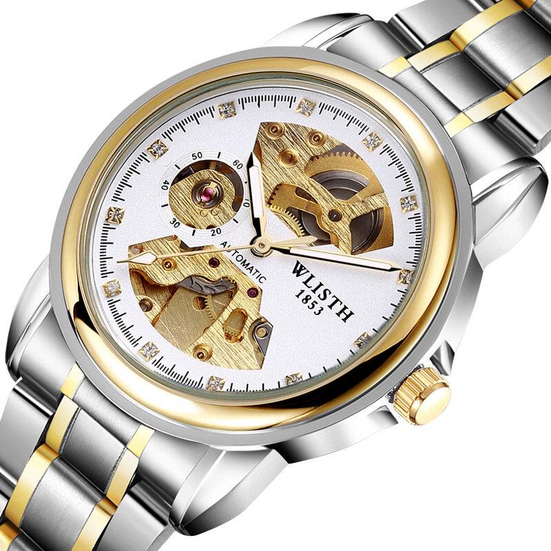 WLISTH 1001 Business Diamond Steel Strap Skeleton Luminous Display Men Waterproof Automatic Mechanical Watch