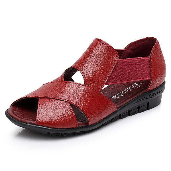 נשים עור אמיתי חלול החוצה נעל לנשום מקרית סנדלים שטוחים