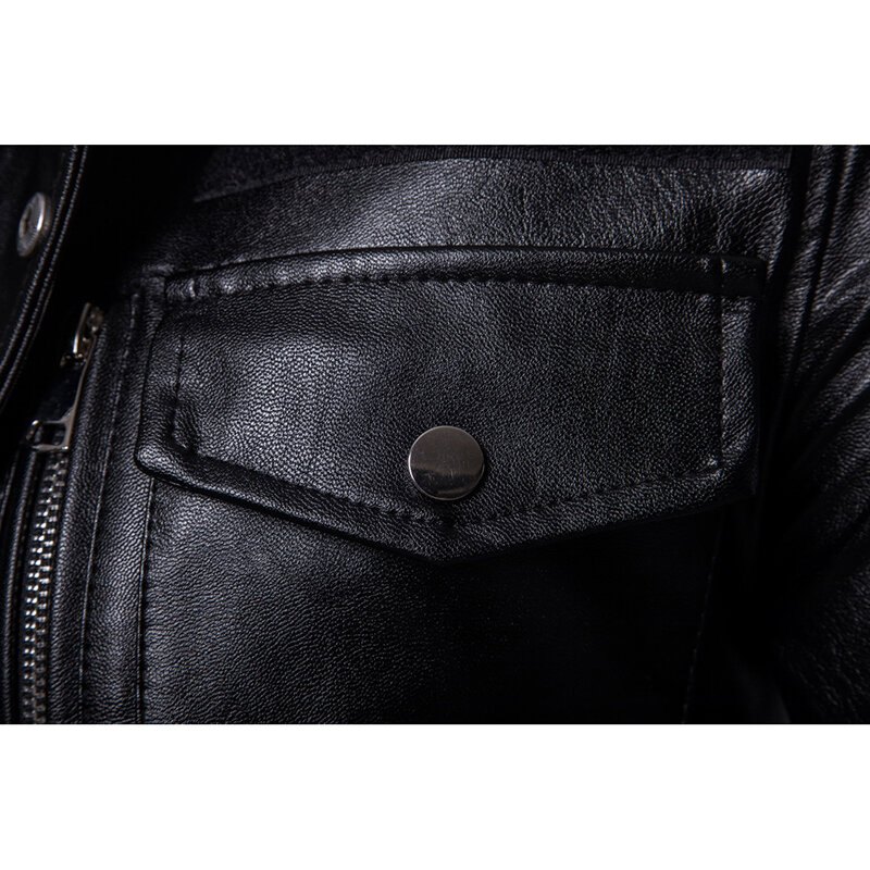 Mens PU Leather Fashion Black White Stitching Motorcycle Biker Jacket Baseball Collar Coat - 8