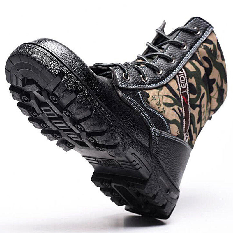 TENGOO Winter Mens Camouflage Steel toe Fur Lined work Ankle boots Labor Safety Shoes Work Shoes Waterproof - 1